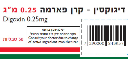 Digoxin Active Material Altered, Ministry of Health